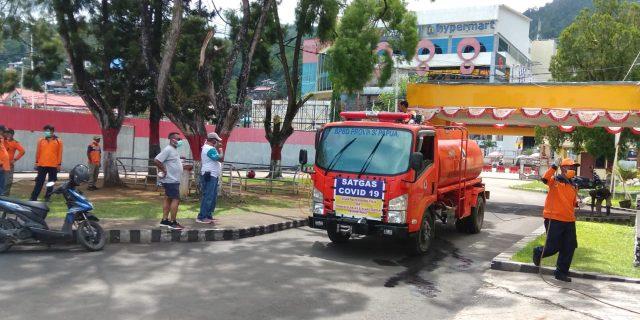 Tangkal Covid-19, BPBD Papua Disinfeksi Kantor KONI Papua