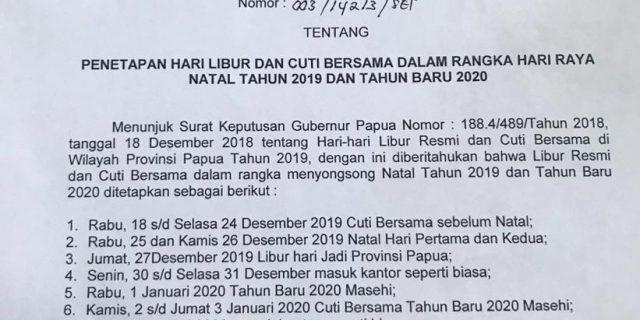 Pemprov Papua Rilis Libur Kantor Pemerintahan